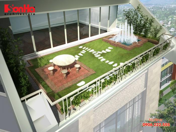 Một góc view cho thấy rõ cách thiết kế sân vườn tầng thượng nhà p