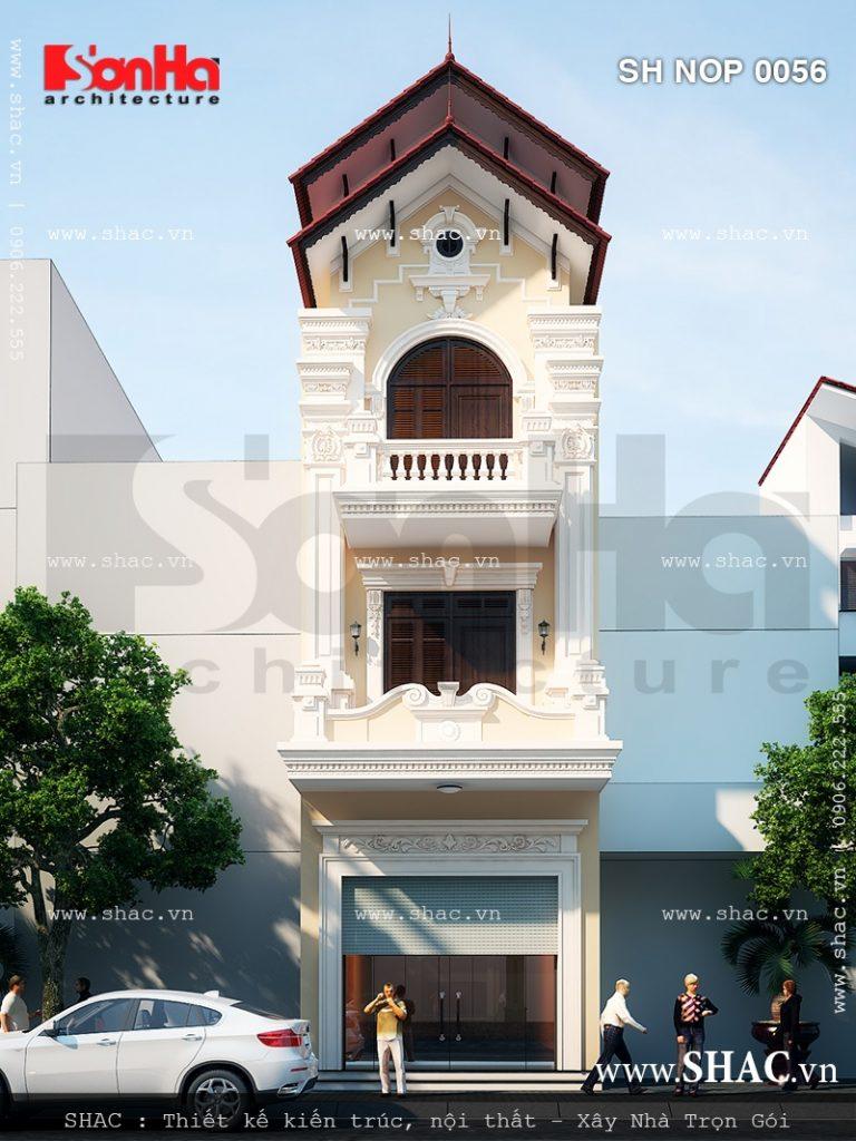 Mẫu mặt tiền đẹp cho phương án thiết kế nhà phố 3 tầng kiểu Pháp cổ điển sang trọng
