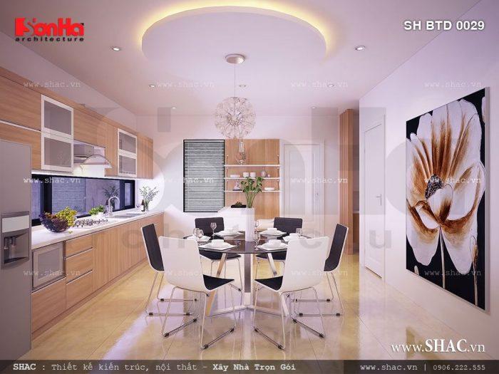 Không gian phòng bếp ăn biệt thự có thiết kế nội thất hiện đại cùng cách bố trí sắp xếp bố cục hợp lý