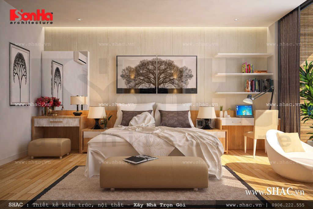 Thiết kế nội thất phòng ngủ hiện đại, trẻ trung trong không gian thoáng đãng, ngập tàn ánh sáng