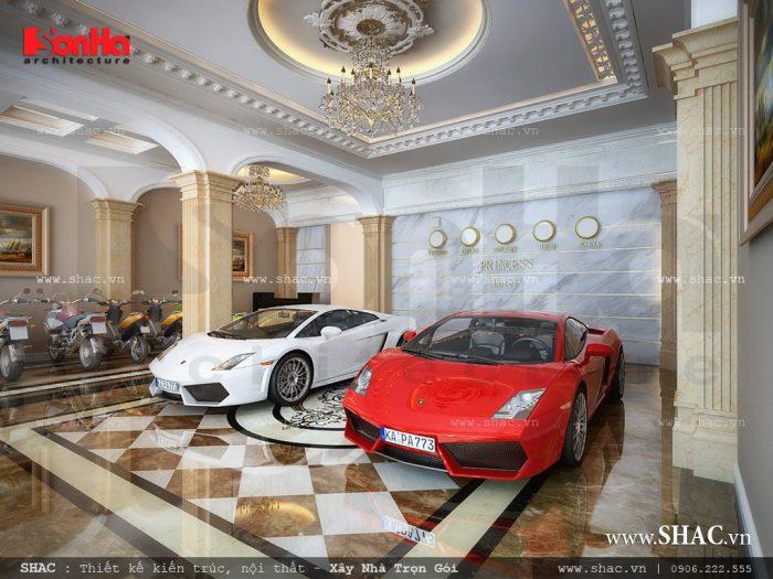 Sảnh khách sạn mini rộng có sức chứa lớn các phương tiện đi lại của khách sạn 5 tầng kiến trúc Pháp tại Nghệ An