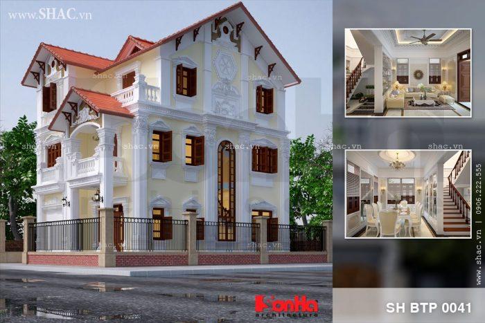 Mẫu thiết kế biệt thự tân cổ điển 3 tầng có nội thất phong cách Pháp sang trọng tại Quảng Ninh