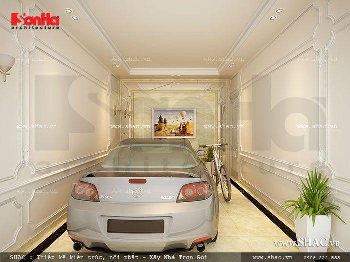 Gara để xe biệt thự được thiết kế khoa học trong không gian riêng kế bên phòng khách Pháp lớn