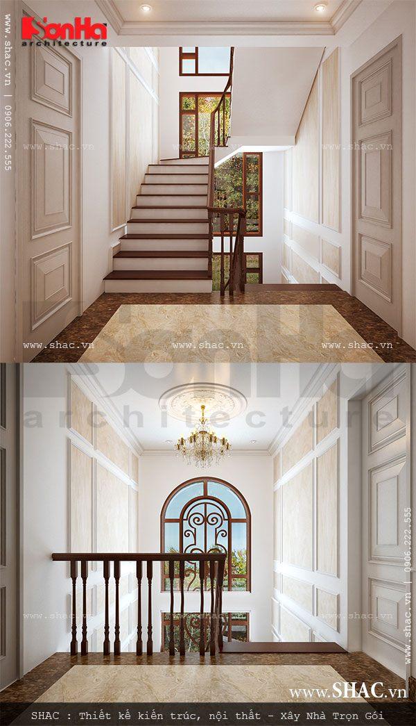 Khu sảnh cầu thang của biệt thự được thiết kế đơn giản nhưng đẹp