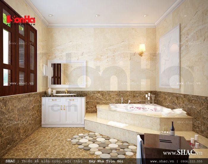 Không gian phòng tắm có thiết kế nội thất cao cấp sang trọng trong phòng ngủ của vợ chồng chủ đầu tư
