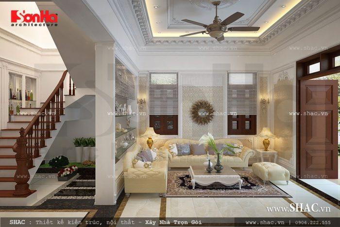 Nội thất cổ điển trang nhã trong không gian phòng khách Pháp sang trọng của biệt thự