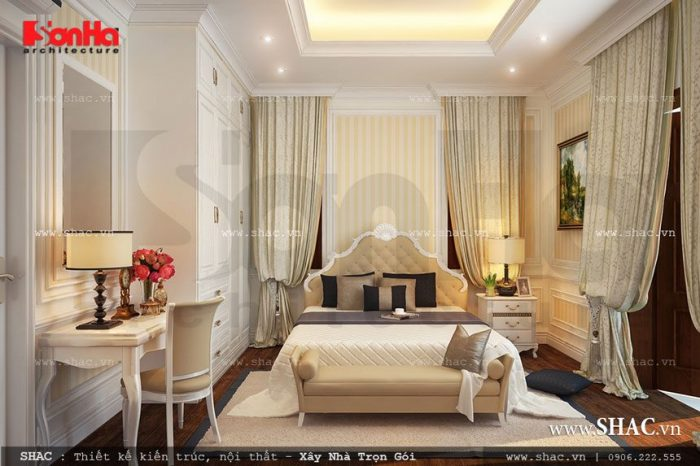 Mẫu thiết kế nội thất phòng ngủ cổ điển của vợ chồng gia chủ