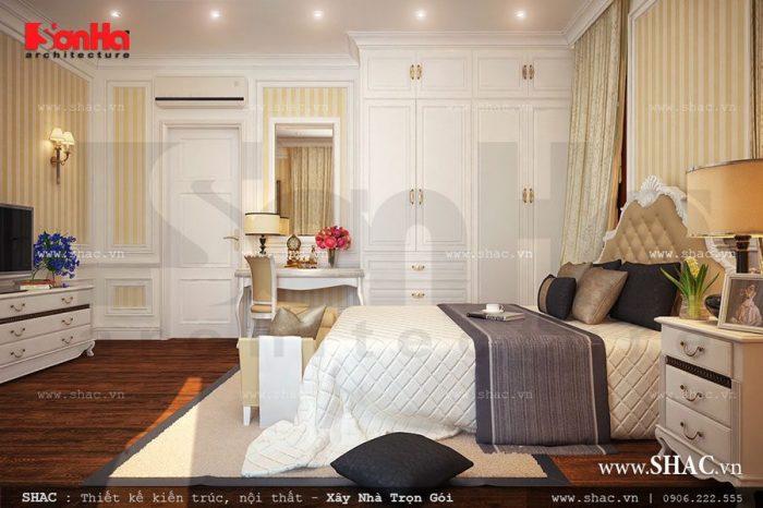 Phòng ngủ kiểu Pháp đẹp là một trong những điểm sáng trong thiết kế của biệt thự phố này
