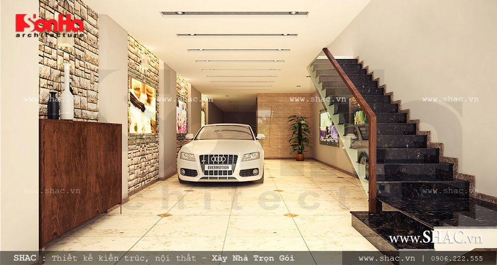 Gara để xe tại tầng 1 cho khách và gia đình