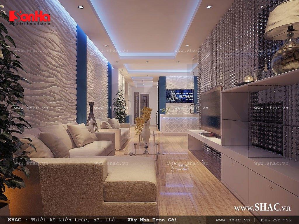 Phòng khách và quầy lễ tân của spa