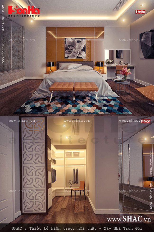 Phòng ngủ dành cho bố mẹ được thiết kế chủ đạo với gam màu ấm áp