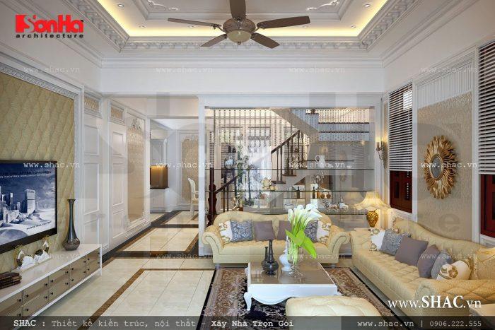 Tiếp đó là phòng khách phong cách Pháp đẹp với thiết kế đẳng cấp đến từng tiểu tiết