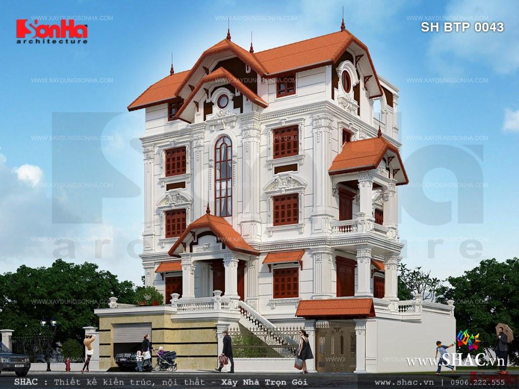 thiết kế biệt thự pháp cổ điển 5 tầng đẹp