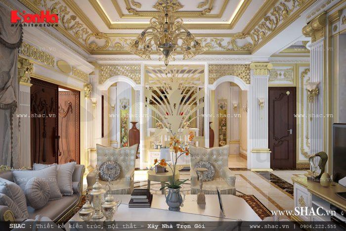 Thiết kế nội thất phòng khách vương giả của biệt thự kiến trúc Pháp 3 tầng tại Hà Nội