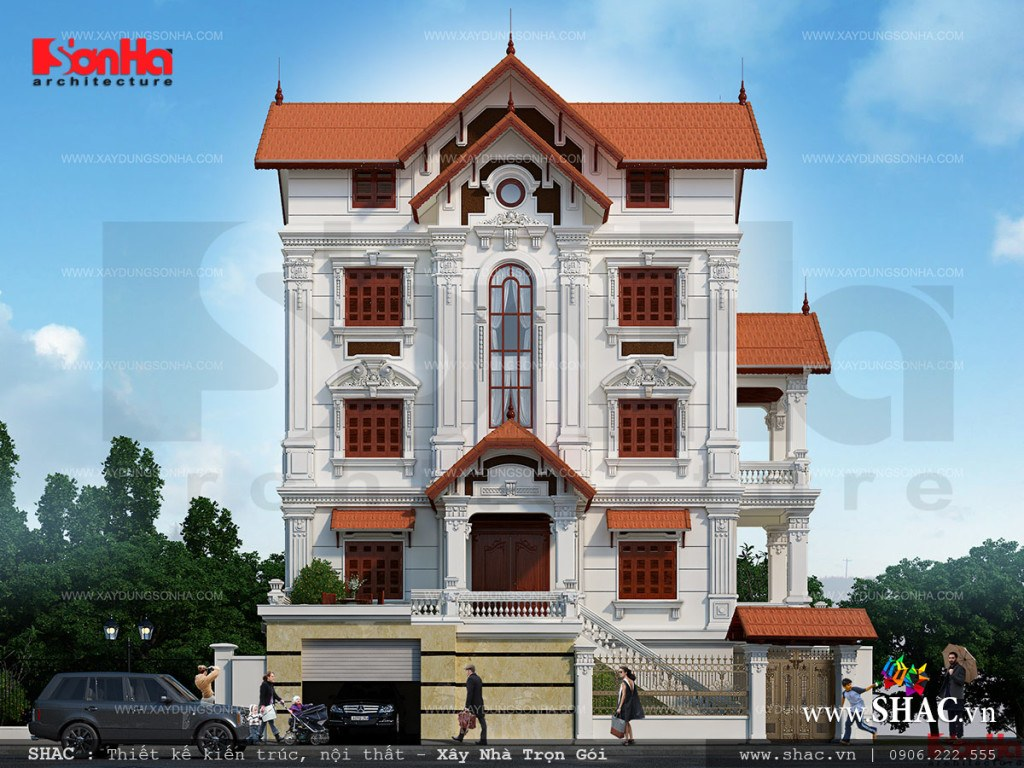 Phương án thiết kế kiến trúc biệt thự cổ điển Pháp 5 tầng tại Quảng Ninh được chủ đầu tư khá hài lòng