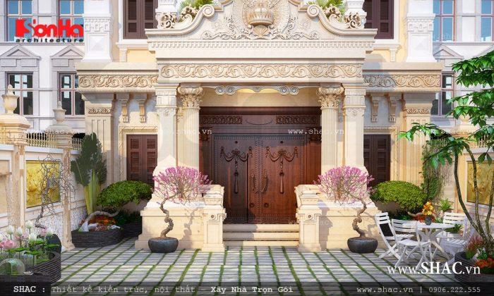 Thiết kế cửa cổng biệt thự Pháp 3 tầng đẹp trong không gian tiểu cảnh thơ mộng