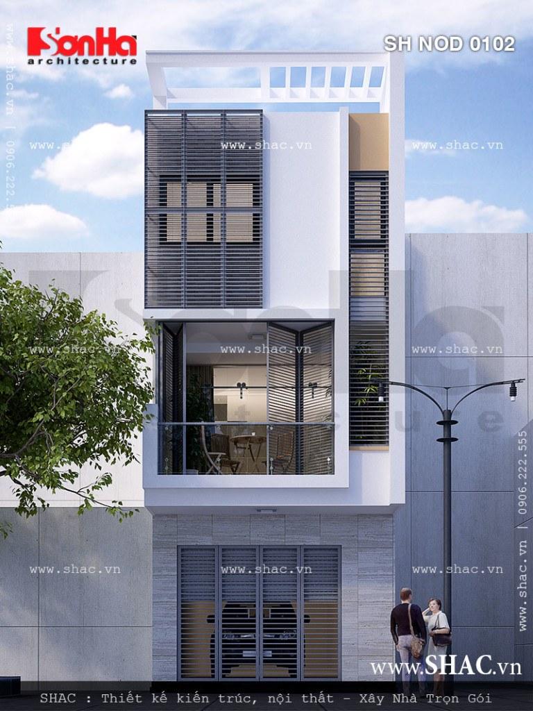 kiến trúc nhà phố hiện đại 1 trệt 2 lầu