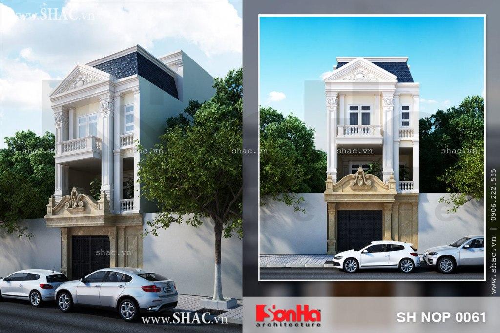 Phương án thiết kế nhà phố 3 tầng phong cách tân cổ điển đẹp mắt và khang trang