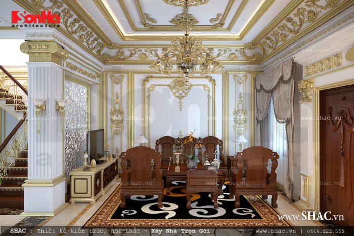 Nội thất gỗ sáng bừng không gian phòng khách đẹp của ngôi biệt thự