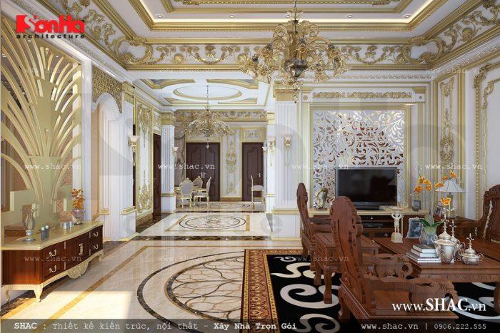 Choáng ngợp trước vẻ đẹp đậm chất cổ điển của mẫu phòng khách thiết kế nội thất sang trọng