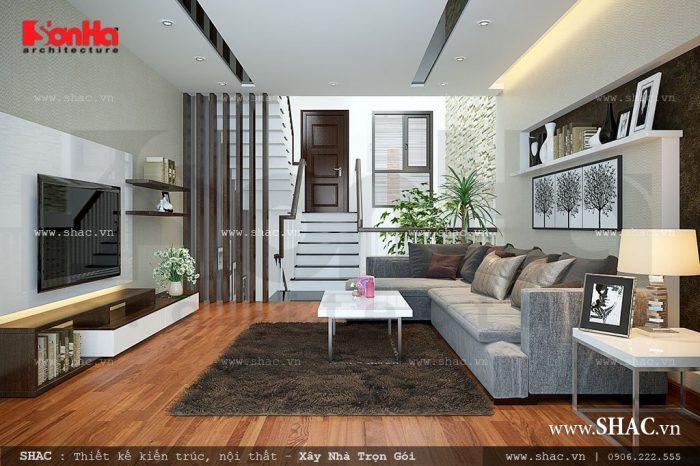 Chắc chắn bạn sẽ thật sự ấn tượng khi đặt chân vào không gian tiếp khách hiện đại này, bạn sẽ cảm nhận được sự tinh tế trong cách lựa chọn nội thất và cách phối màu sắc cho căn phòng