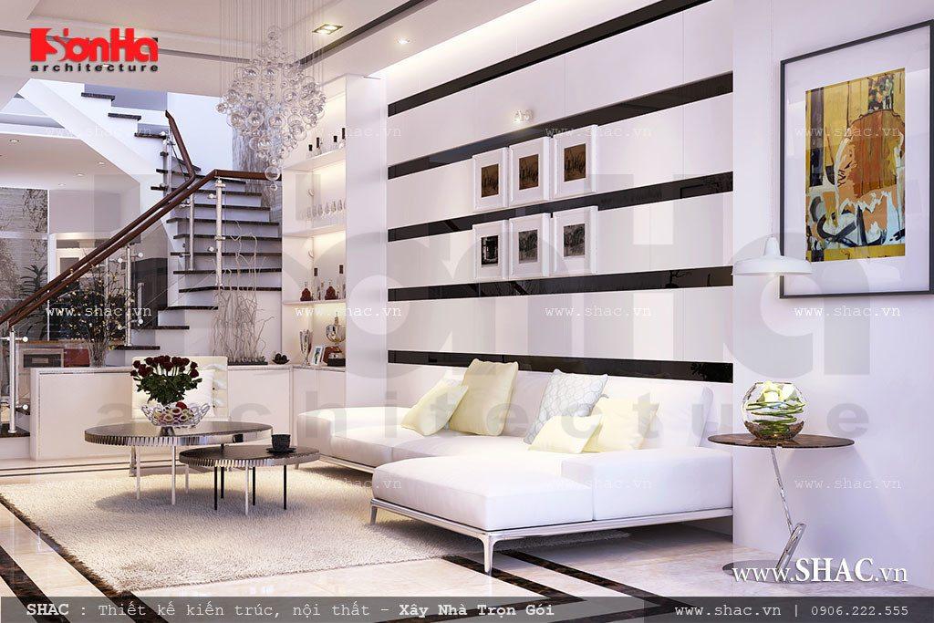 Phòng khách với 2 gam màu trắng đen