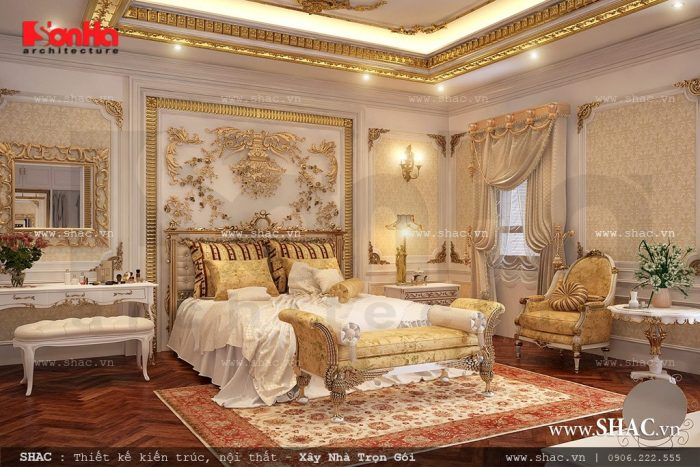 Mẫu thiết kế nội thất phòng ngủ dát vàng đẳng cấp và xa hoa là chốn nghỉ dưỡng lý tưởng của gia chủ
