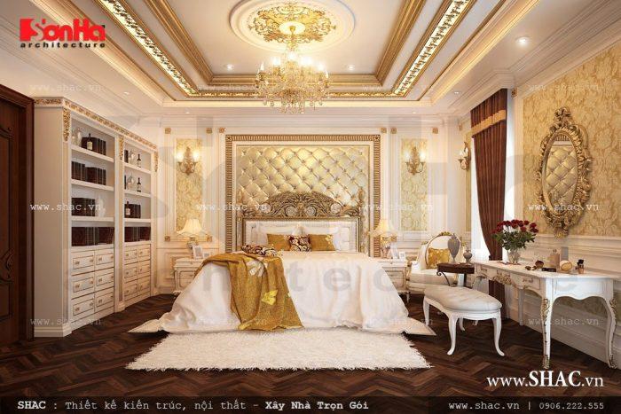 Phong cách Pháp sang trọng thể hiện rõ qua phương án thiết kế mẫu phòng ngủ này