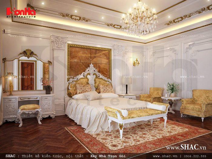 Sự tiện nghi và đẳng cấp là yếu tố được KTS Sơn Hà đặt lên hàng đầu khi lên phương án thiết kế mẫu phòng ngủ biệt thự Pháp