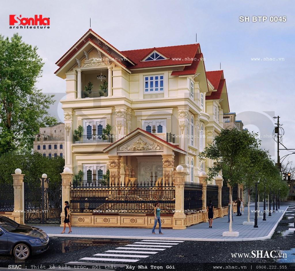 Bản thiết kế biệt thự kiến trúc Pháp mái ngói đẹp
