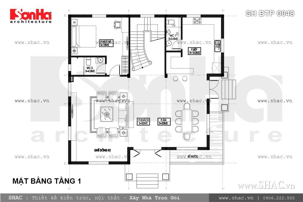 Bản vẽ mặt bằng tầng 1 biệt thự pháp 3 tầng
