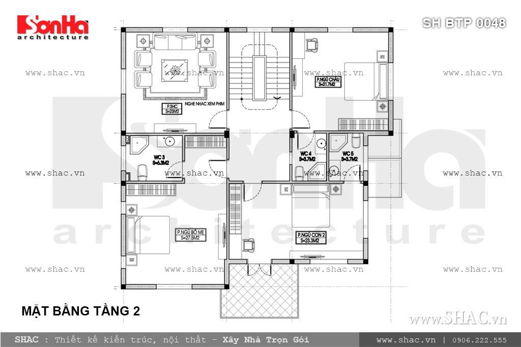 Bản vẽ mặt bằng tầng 2 biệt thự pháp 3 tầng