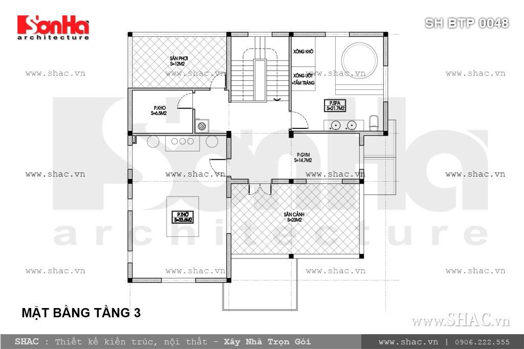Biệt thự 3 tầng tân cổ điển mái ngói đẹp - SH BTP 0048 7