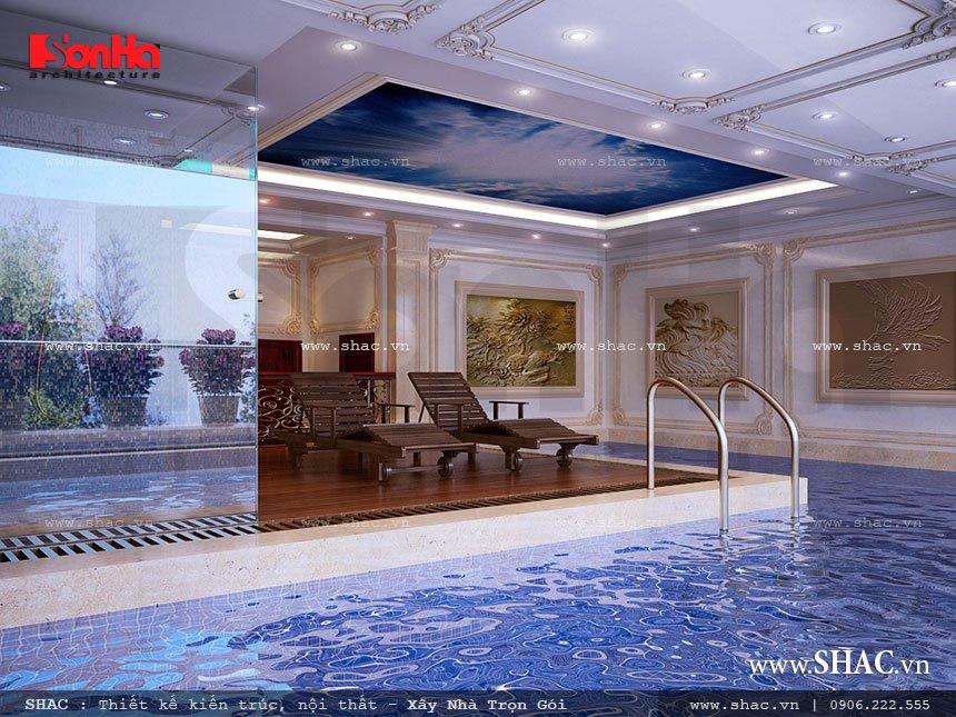 thiết kế bể bơi trong nhà của biệt thự lâu đài; thiet ke be boi trong nha cua biet thu lau dai
