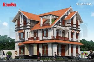 Biệt thự 3 tầng tân cổ điển mái ngói đẹp