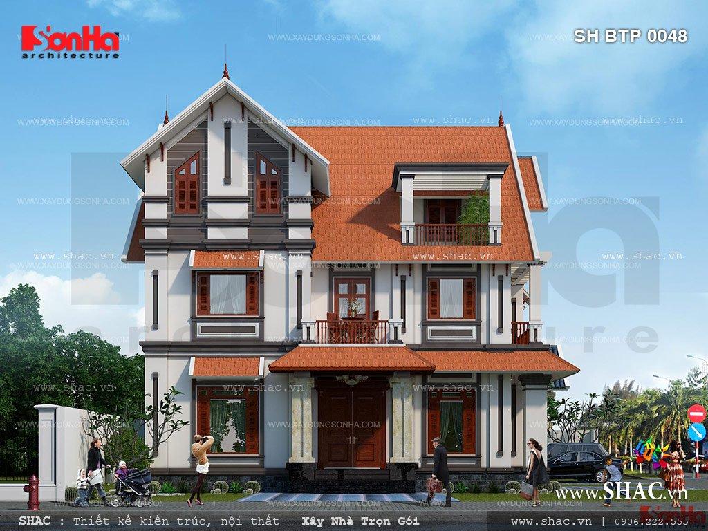 Biệt thự 3 tầng tân cổ điển mái ngói đẹp - SH BTP 0048 2