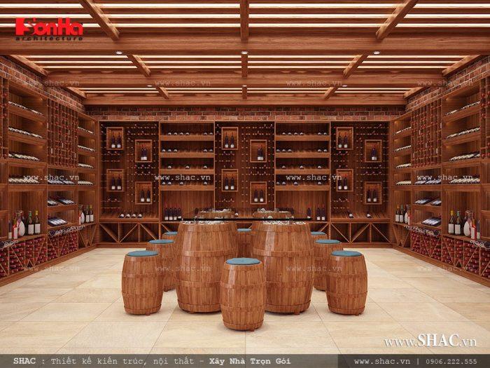 Thiết kế hầm rượu nội thất gỗ