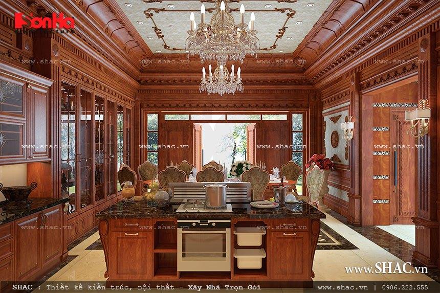 thiết kế phòng ăn tiện nghi của biệt thự lâu đài; noi that phong an va bep tien nghi cua biet thu lau dai