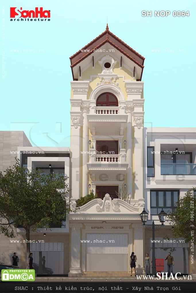 Mặt tiền nhà phố 4 tầng kiến trúc Pháp