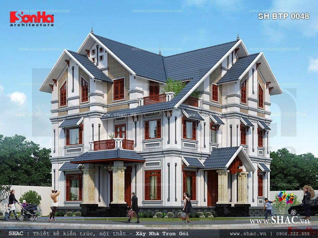 Biệt thự 3 tầng tân cổ điển mái ngói đẹp - SH BTP 0048 3