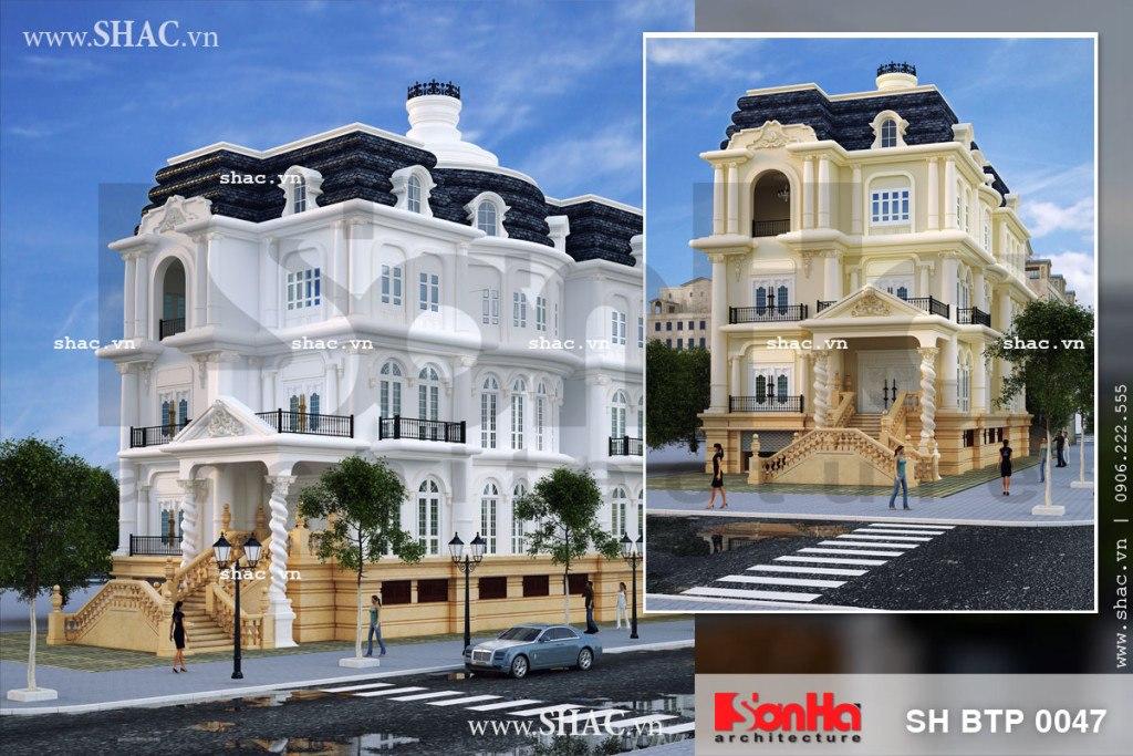 Mẫu nhà biệt thự đẹp kiến trúc Pháp sang trọng, mau nha biet thu dep kien truc Phap sang trong