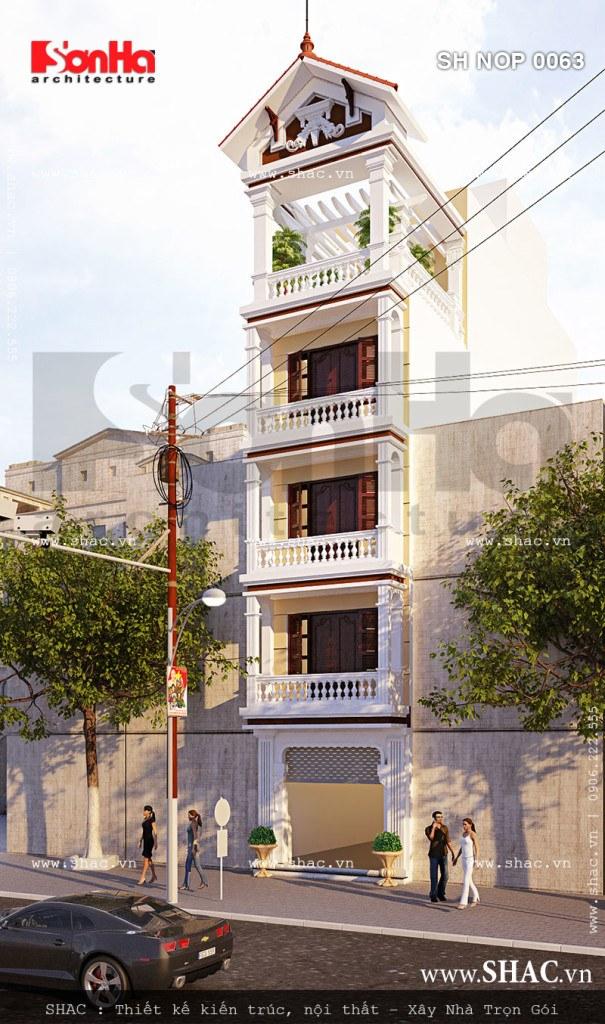 Nhà phố 5 tầng kiến trúc Pháp