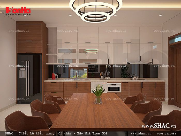 Mẫu thiết kế nội thất phòng bếp với chất liệu gỗ cao cấp tạo sự sang trọng cho không gian phòng bếp