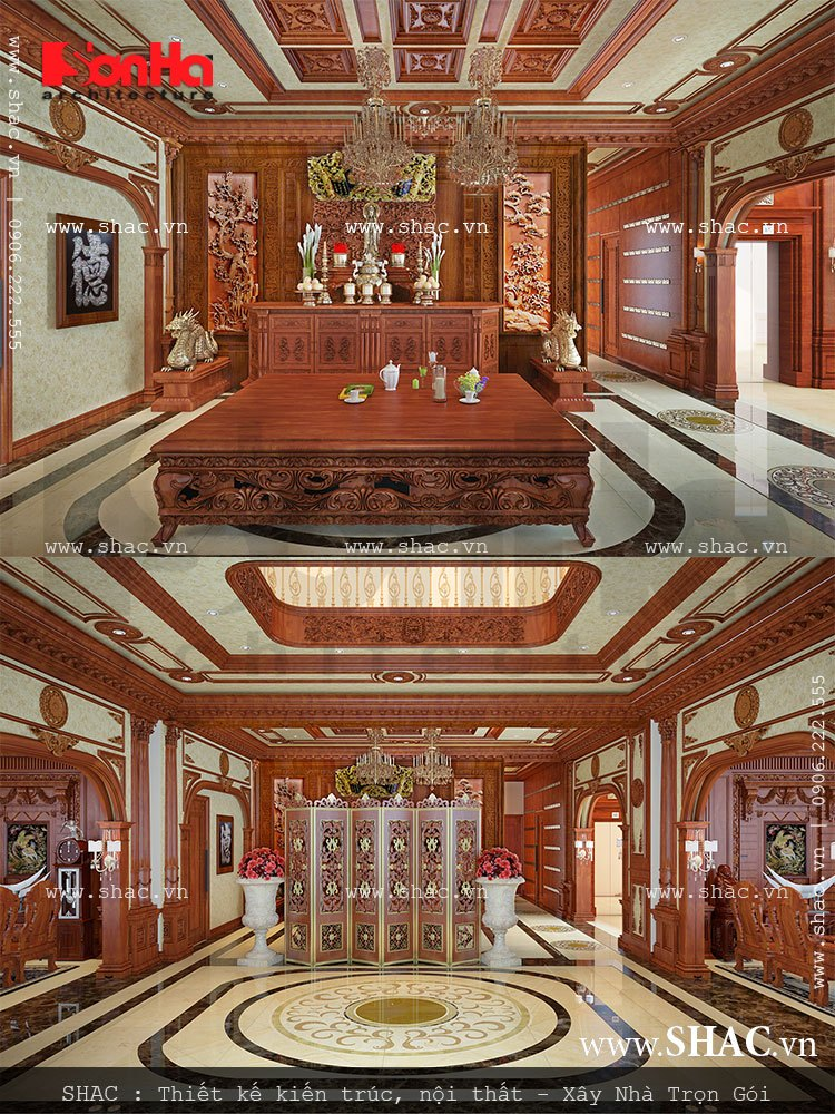 thiết kế phòng thờ trang trọng biệt thự lâu đài; thiet ke noi that phong tho trang trong cua biet thu lau dai