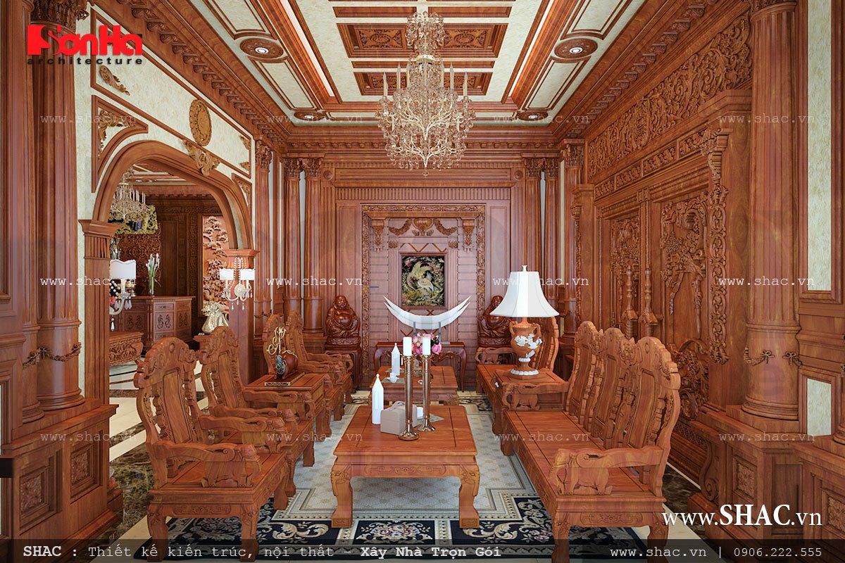 nội thất phòng khách biệt thự lâu đài; thiet ke noi that phong khach su dung go biet thu lau dai