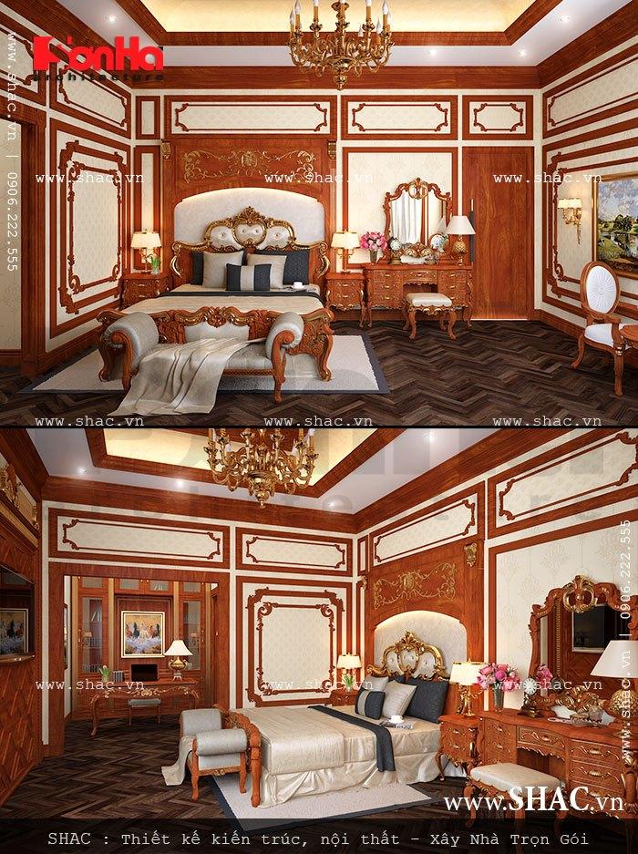thiết kế nội thất phòng ngủ vip của biệt thự lâu đài; noi that phong ngu vip biet thu lau dai