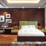 Tường sàn phòng ngủ được ốp gỗ