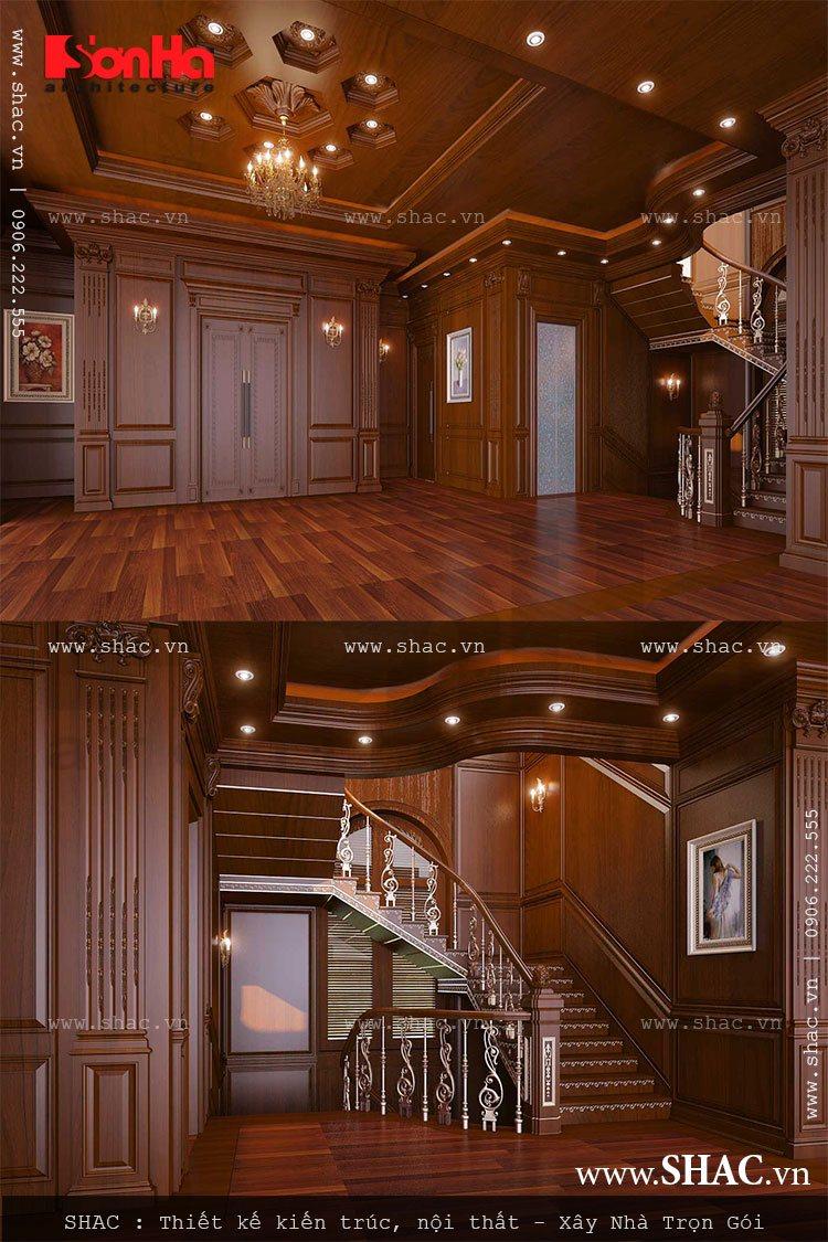 thiết kế sảnh thang các tầng biệt thự lâu đài; thiet ke sanh thang biet thu lau dai 5 tang kieu phap