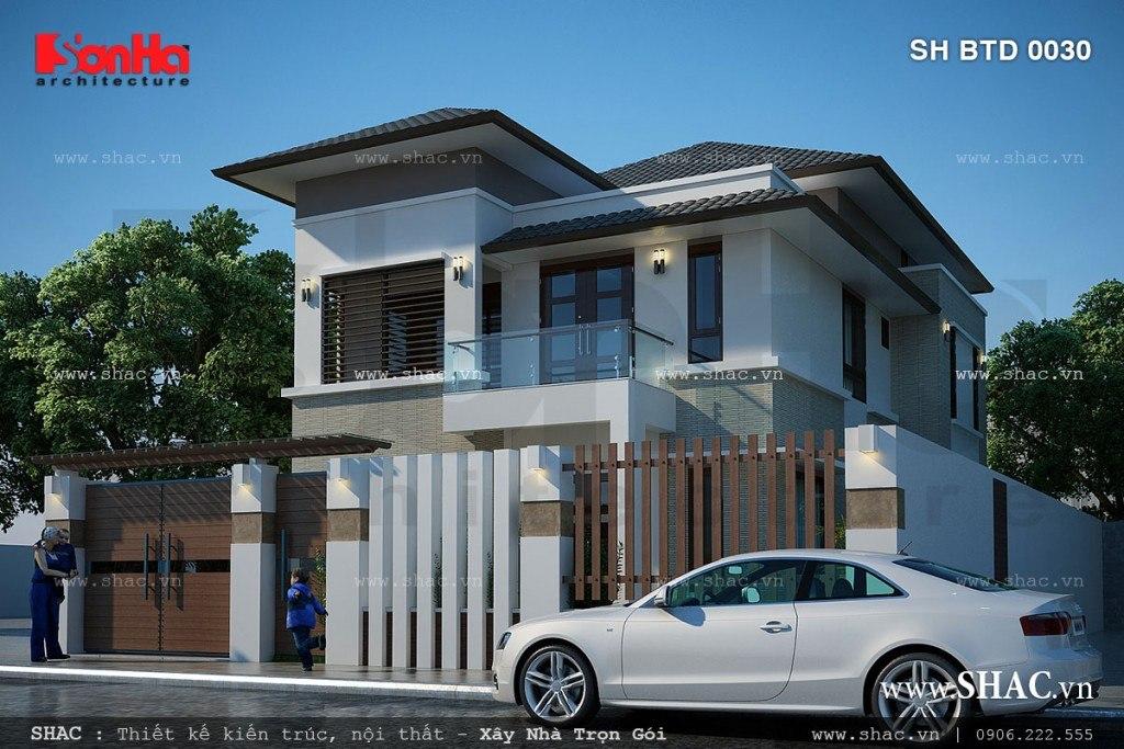 mẫu thiết kế biệt thự hiện đại 2 tầng