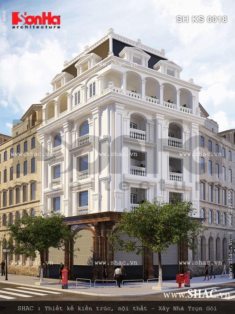 Thiết kế khách sạn mini 5 tầng kiến trúc Pháp